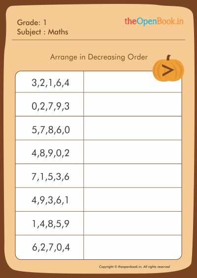 Arrange in Decreasing Order