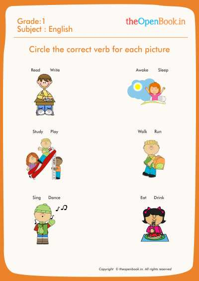 Circle the correct verb for each picture