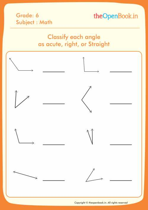 Classify each angle as acute right or Straight