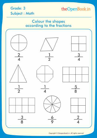 Colour the shapes according to the fractions