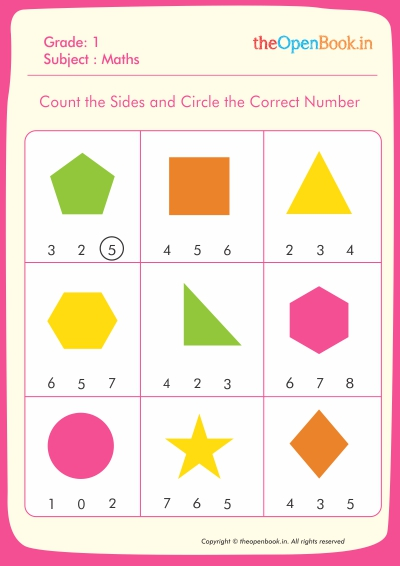 Count the Sides and Circle the Correct Number