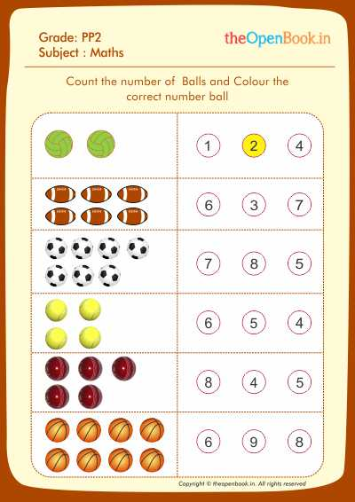 Count the number of  Balls and Colour the Correct number ball