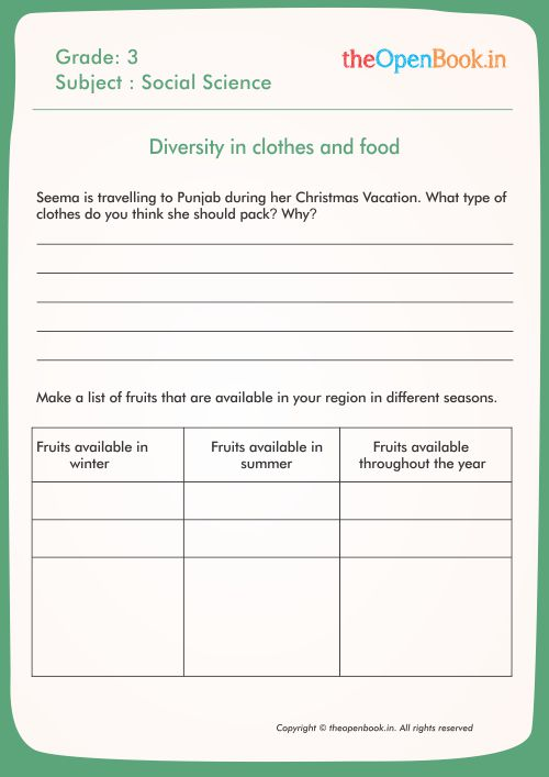 Printable Worksheets for kids | CBSE | theopenbook in