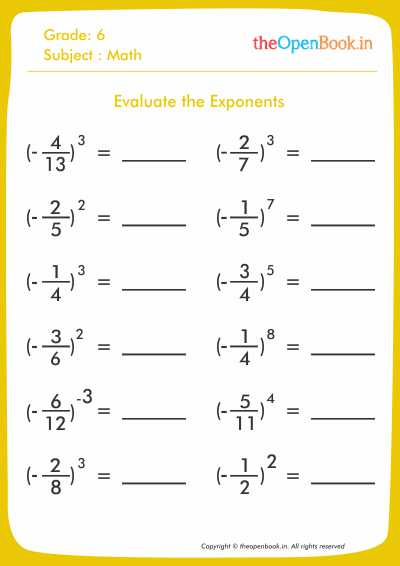 Evaluate the Exponents