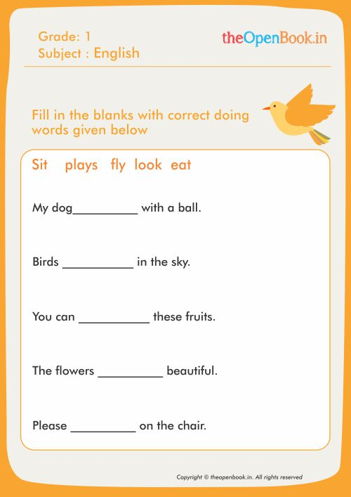 Fill In The Blanks With Correct Doing Words Given Below
