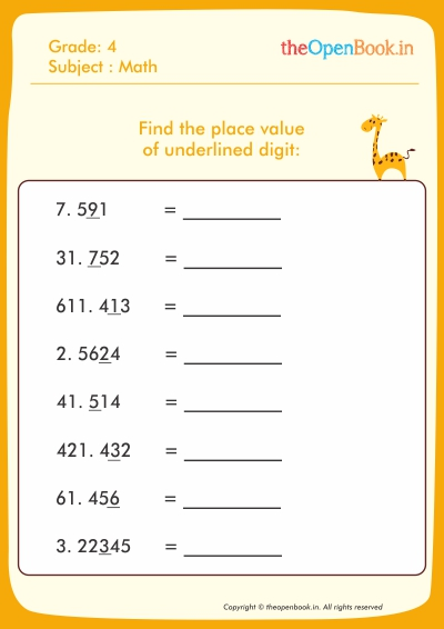 Find the place value of underlined digit