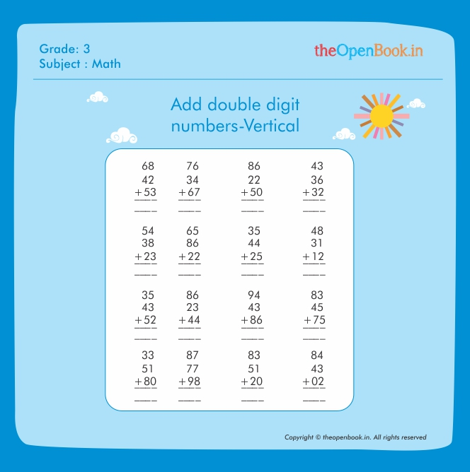 Add double digit numbers-Vertical