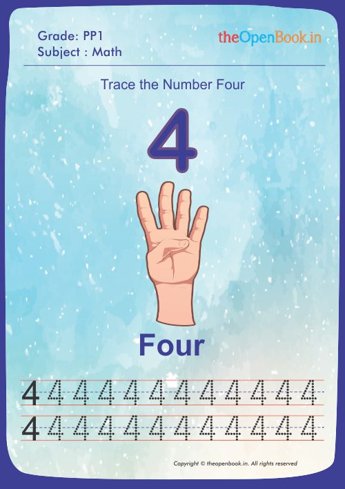 Trace the Number Four