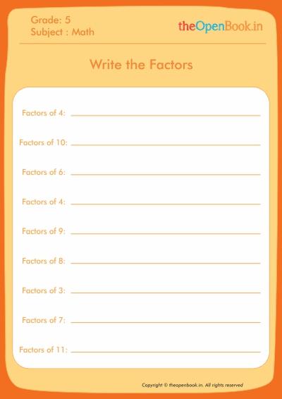 Write the Factors