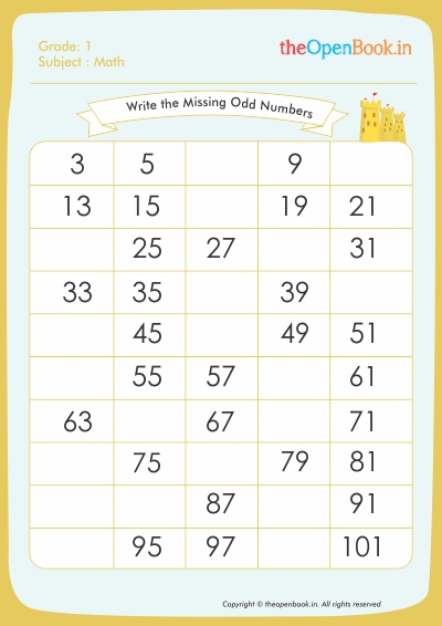 Write the Missing Odd Numbers