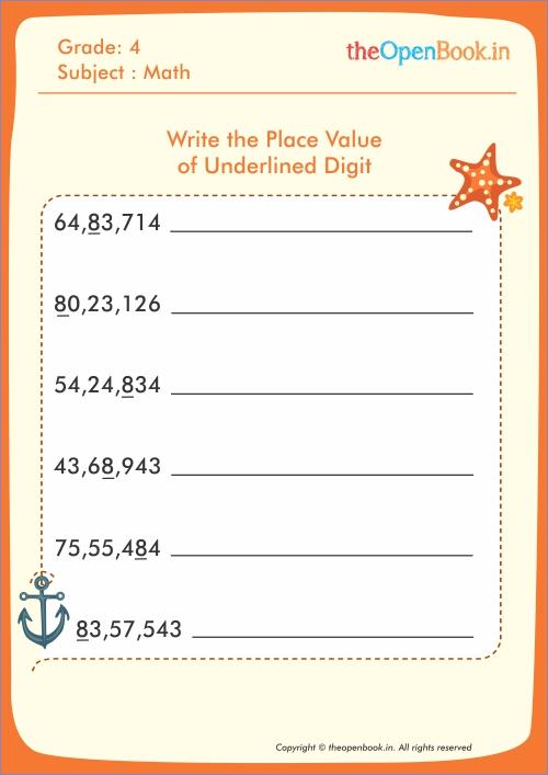 Place Value Worksheets : place value worksheets value underlined ...