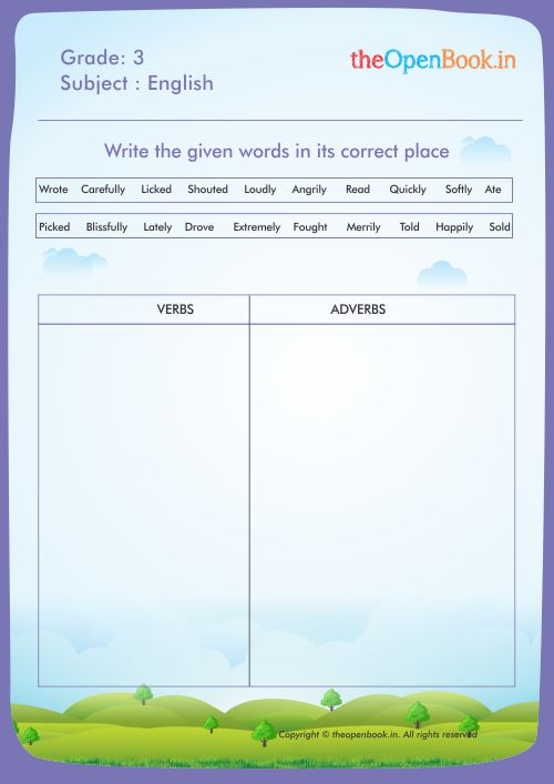 Write the given words in its correct place